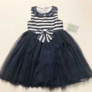 BONNIE JEAN Stripe Tulle Christmas Holiday Dress